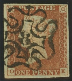 1841 1d Red cancelled by a 8 in maltese cross SG 8m