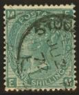 1867 1/- Green SG 117 Plate 5 variety stock exchange forgery