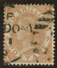 1867 2/- Brown variety inverted watermark SG 121i